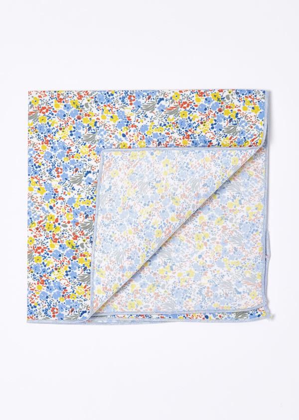Pochette bleu clair à motif fleuri jaune et orange - Father and Sons 19099