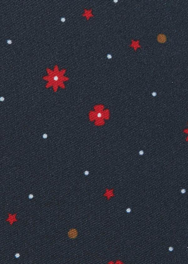 Pochette bleu foncé à motif fantaisie rouge - Father and Sons 30503