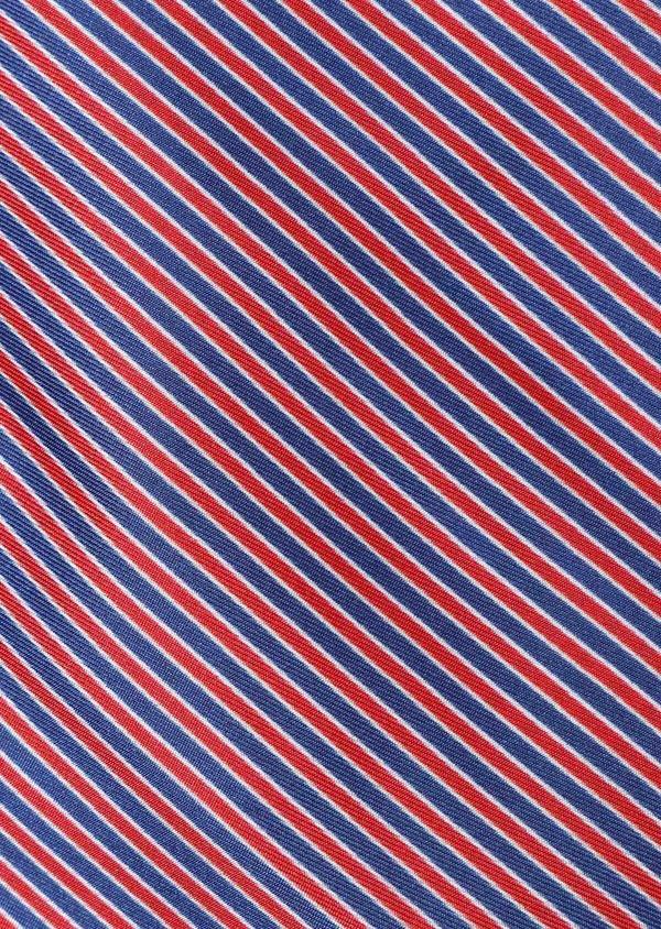 Pochette en soie bleue à rayures rouges - Father and Sons 33370