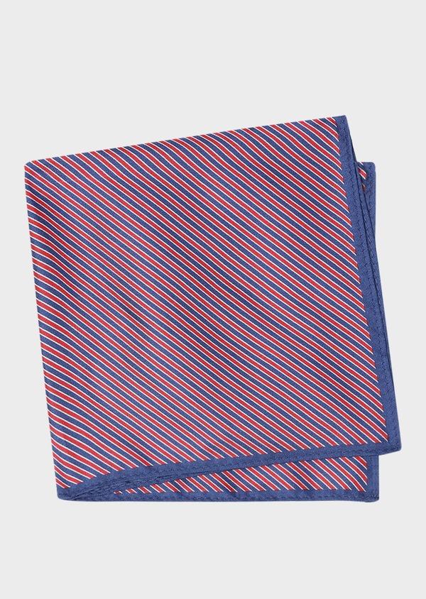 Pochette en soie bleue à rayures rouges - Father and Sons 33369