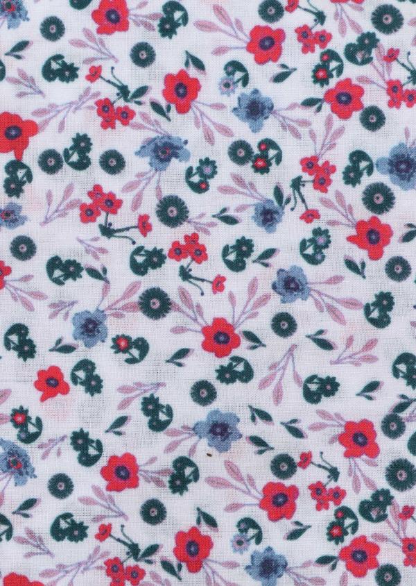 Pochette en coton bleu ciel à motif fleuri bleu marine, bleu et rose - Father and Sons 33354