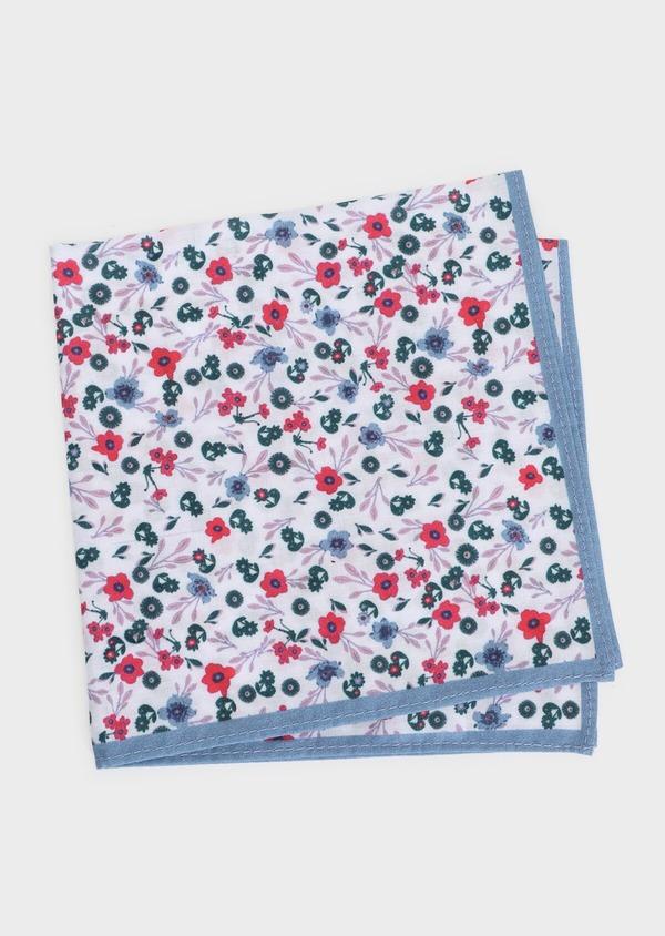 Pochette en coton bleu ciel à motif fleuri bleu marine, bleu et rose - Father and Sons 33353