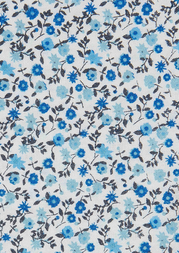 Pochette en coton blanc à motif fleuri bleu ciel - Father and Sons 33362