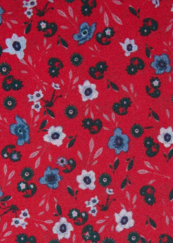 Pochette en coton fuchsia à motif fleuri bleu et vert - Father and Sons 33374