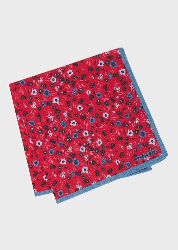 Pochette en coton fuchsia à motif fleuri bleu et vert - Father and Sons 33373