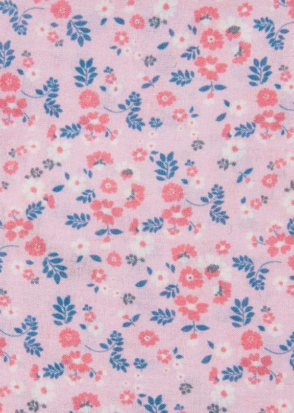 Pochette en coton rose à motif fleuri bleu et rose - Father and Sons 33344