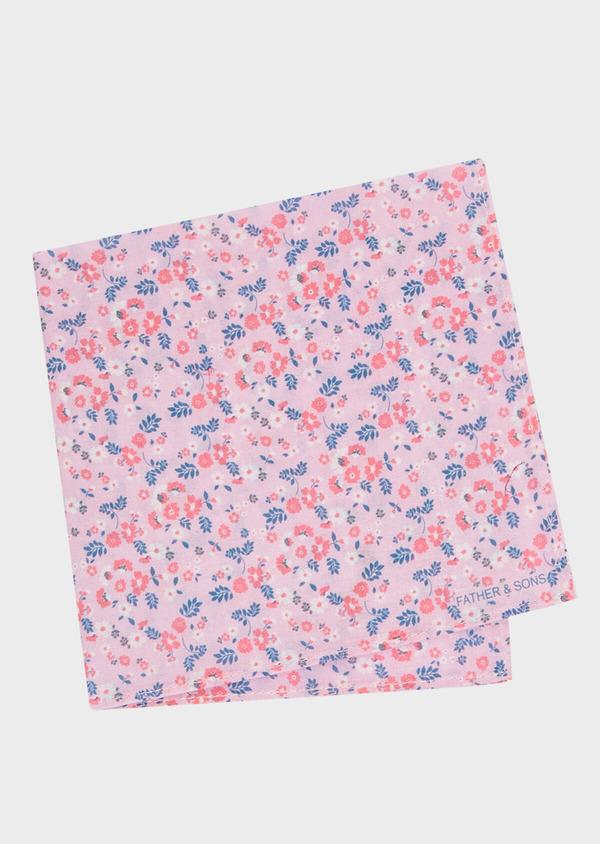 Pochette en coton rose à motif fleuri bleu et rose - Father and Sons 33343