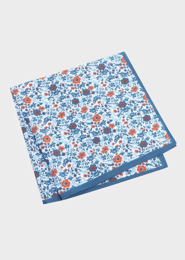 Pochette en coton à motif fleuri bleu marine et orange - Father and Sons 33357