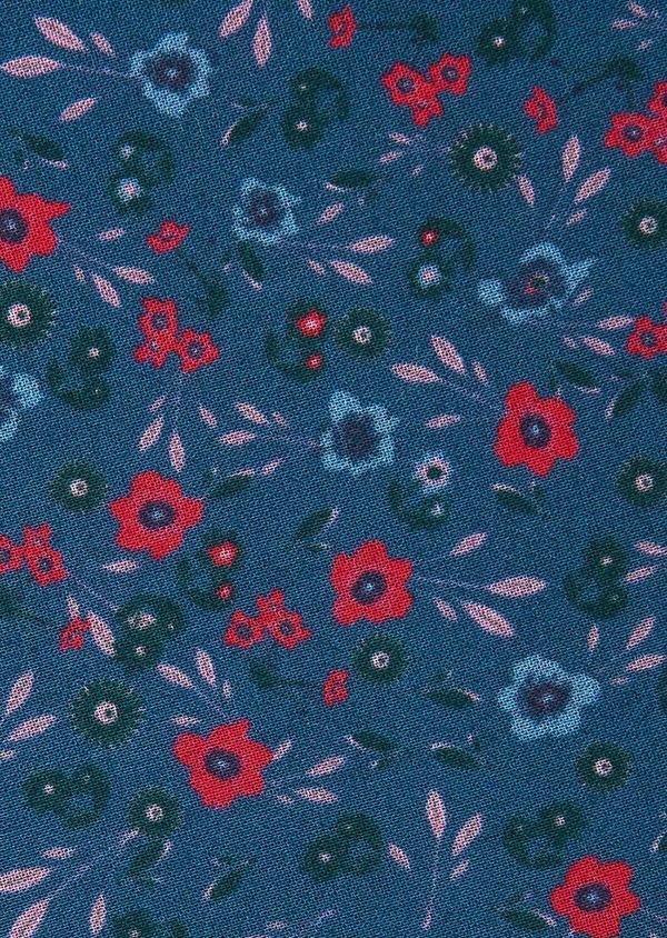 Pochette en coton bleu à motif fleuri fuchsia et vert - Father and Sons 33376