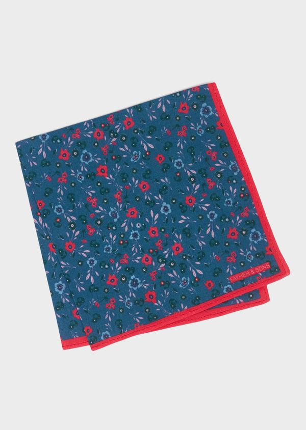 Pochette en coton bleu à motif fleuri fuchsia et vert - Father and Sons 33375