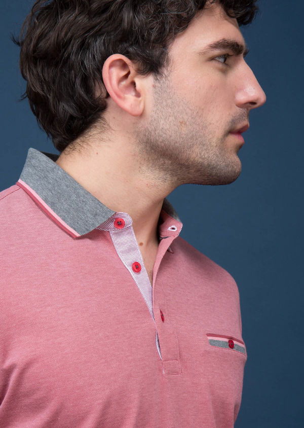 Polo manches courtes Slim en coton uni rose - Father and Sons 18526
