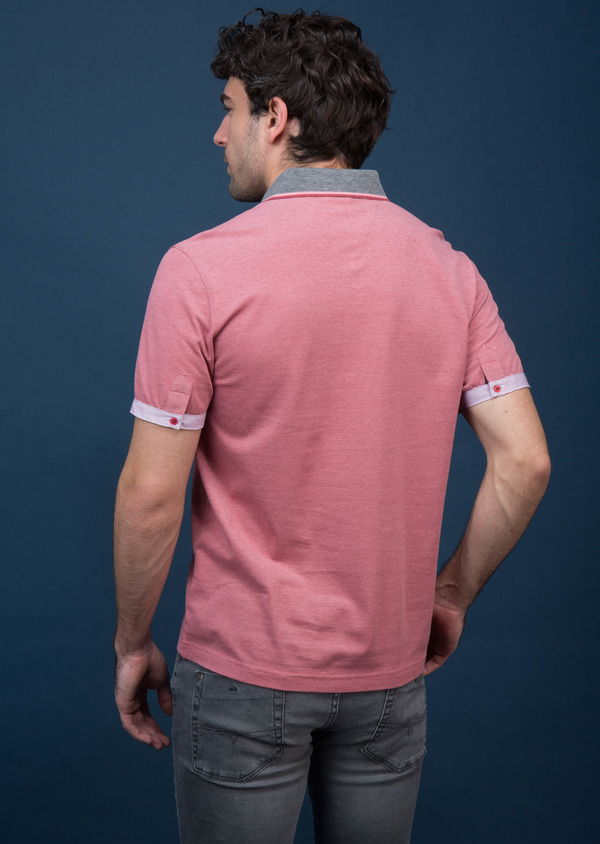 Polo manches courtes Slim en coton uni rose - Father and Sons 18525