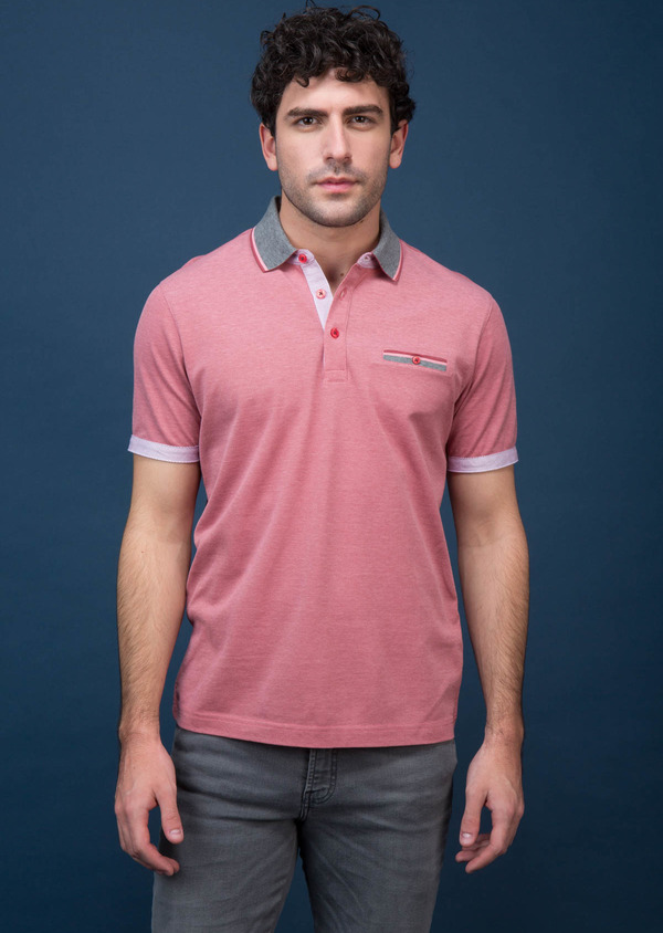 Polo manches courtes Slim en coton uni rose - Father and Sons 18524