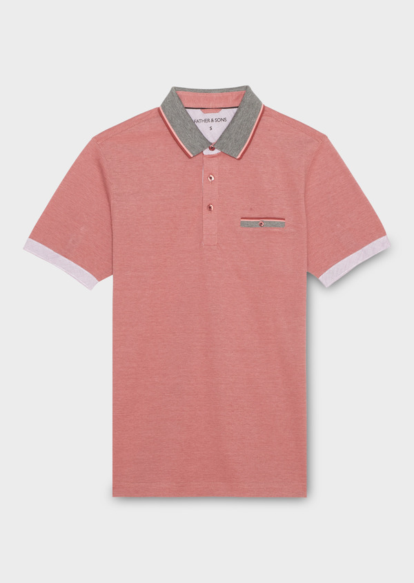 Polo manches courtes Slim en coton uni rose - Father and Sons 18522