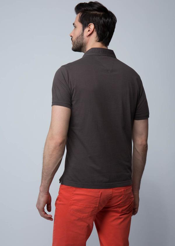 Polo manches courtes Slim en coton uni marron foncé - Father and Sons 18571