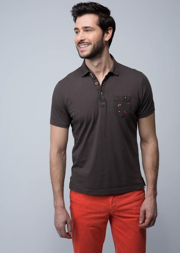 Polo manches courtes Slim en coton uni marron foncé - Father and Sons 18570
