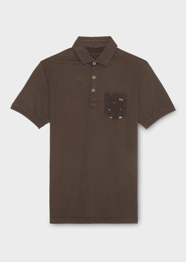 Polo manches courtes Slim en coton uni marron foncé - Father and Sons 18568