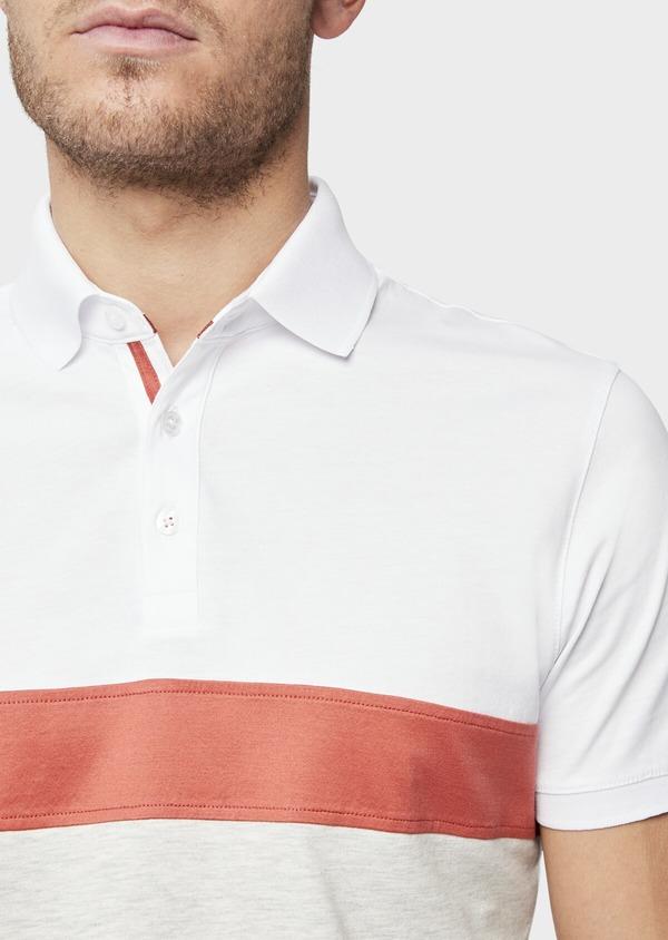 Polo manches courtes Slim en coton blanc, orange et beige - Father and Sons 38747