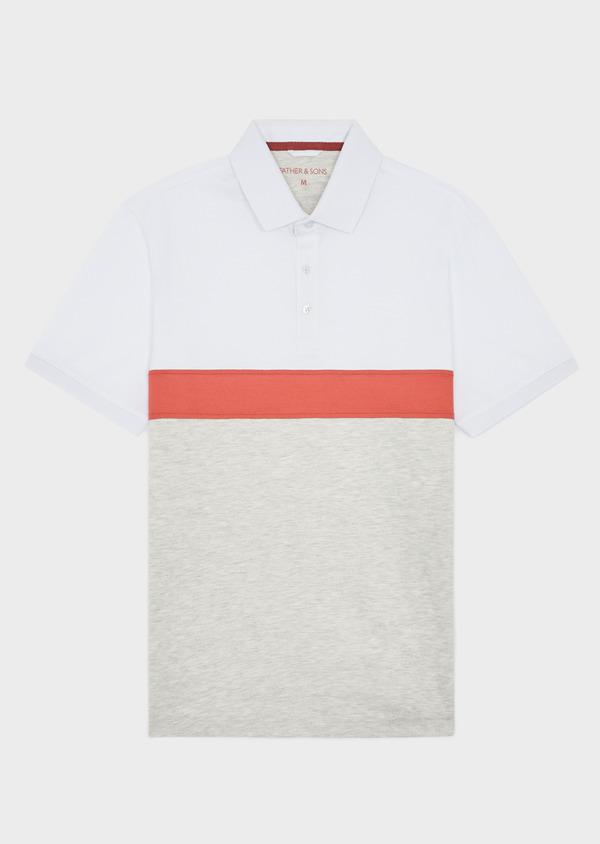 Polo manches courtes Slim en coton blanc, orange et beige - Father and Sons 38743