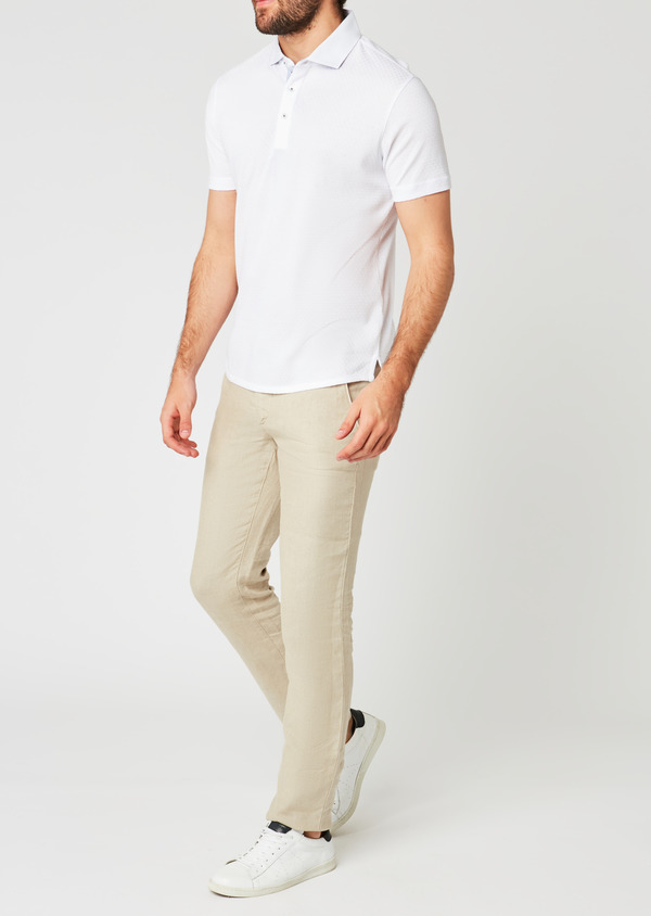 Polo manches courtes Slim en coton blanc - Father and Sons 20359