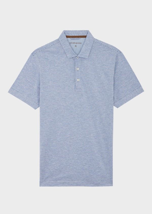 Polo manches courtes Slim en coton à fines rayures blanches et bleues - Father and Sons 39878