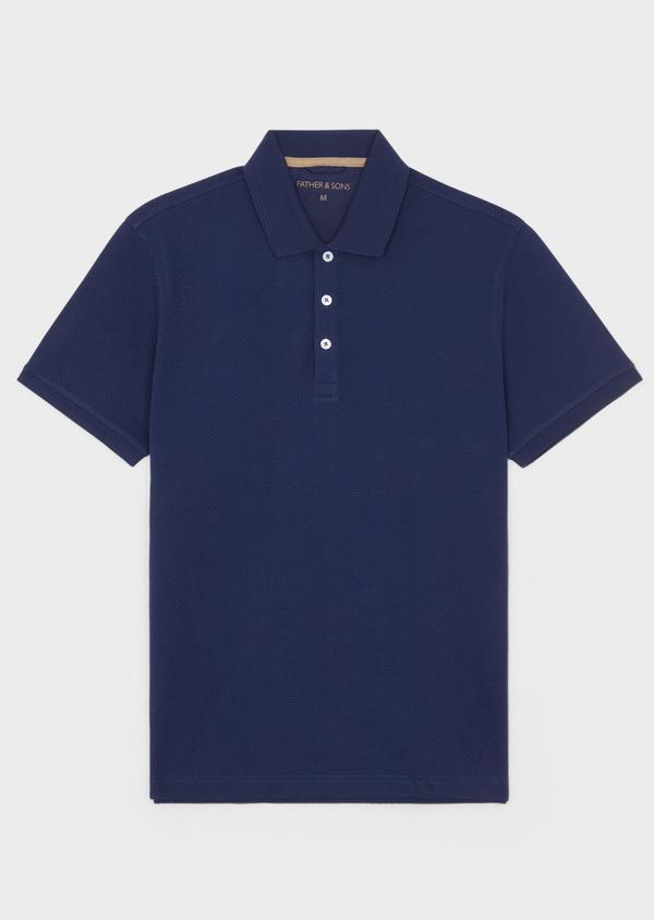 Polo manches courtes Slim en coton uni bleu indigo - Father and Sons 38775