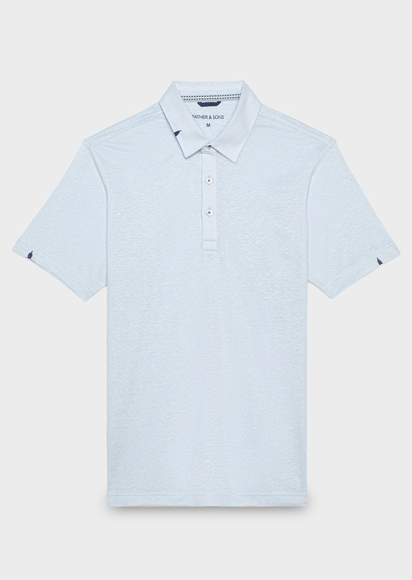 Polo manches courtes Slim en coton uni bleu ciel - Father and Sons 20349