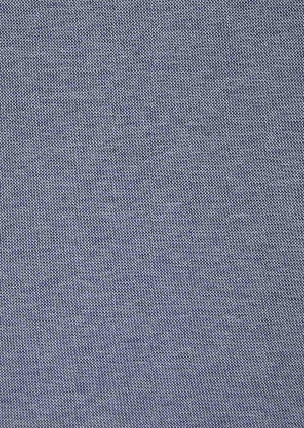 Polo manches courtes Slim en coton uni bleu chiné à col zippé - Father and Sons 39899