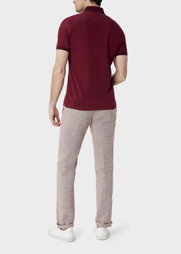 Polo manches courtes Slim en coton uni bordeaux - Father and Sons 40060