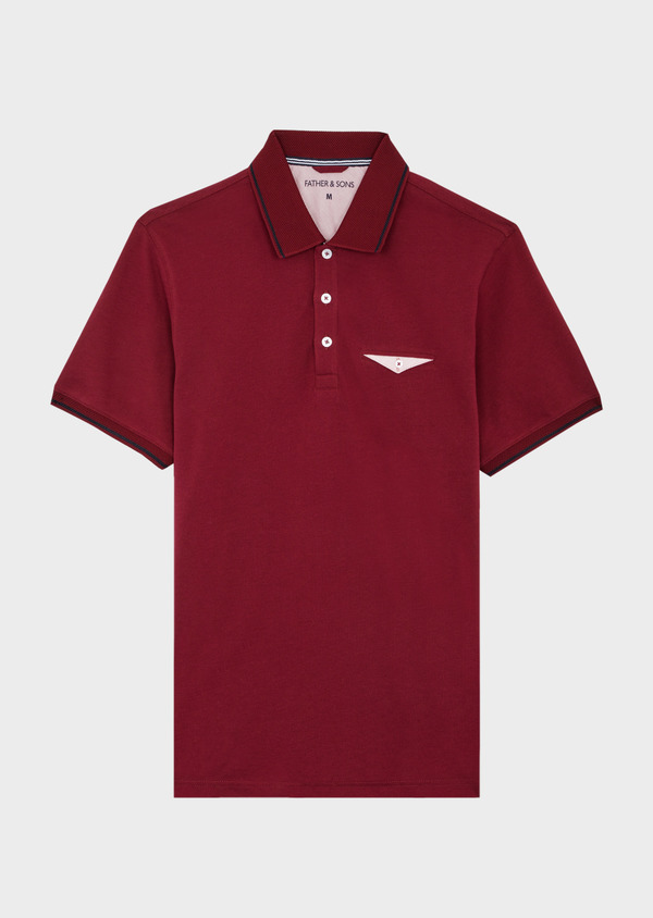 Polo manches courtes Slim en coton uni bordeaux - Father and Sons 40057