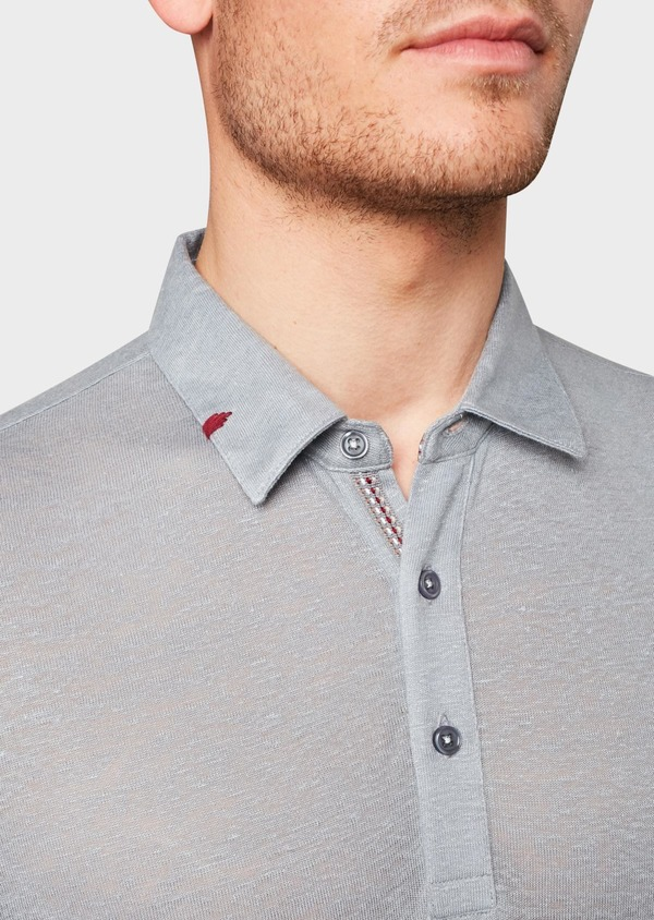 Polo manches courtes Slim en coton uni gris - Father and Sons 18366