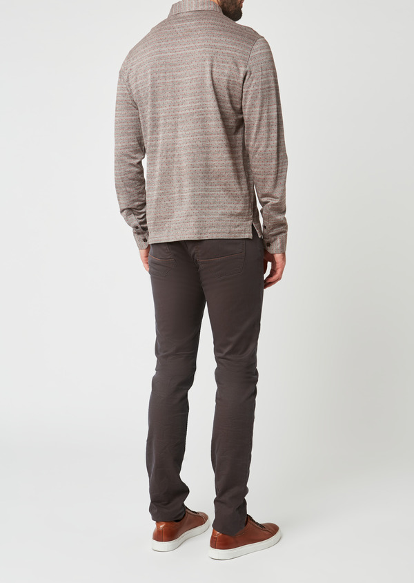 Polo manches longues Slim en coton marron à pois - Father and Sons 28079