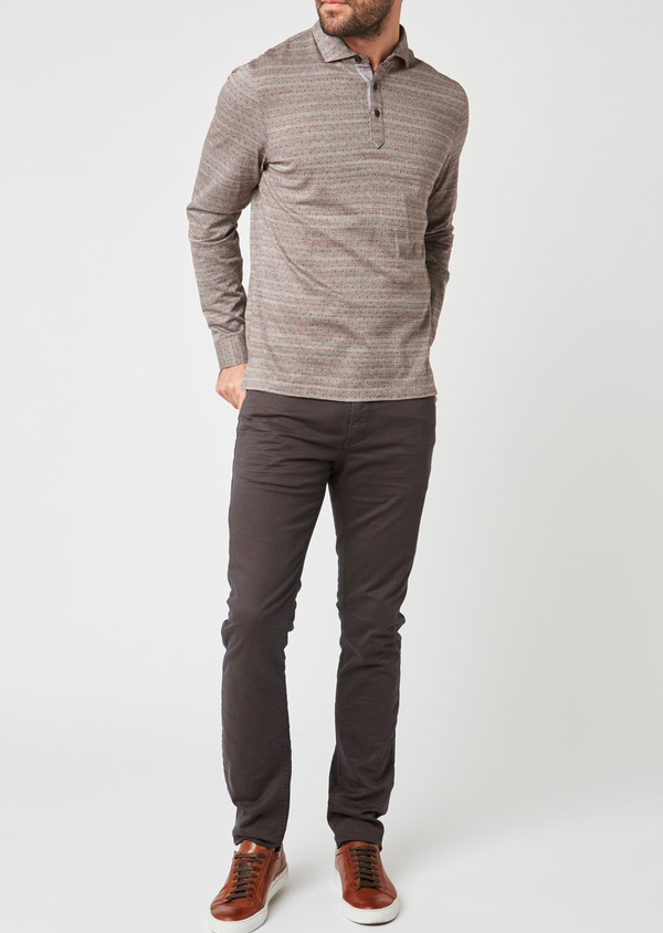 Polo manches longues Slim en coton marron à pois - Father and Sons 28078