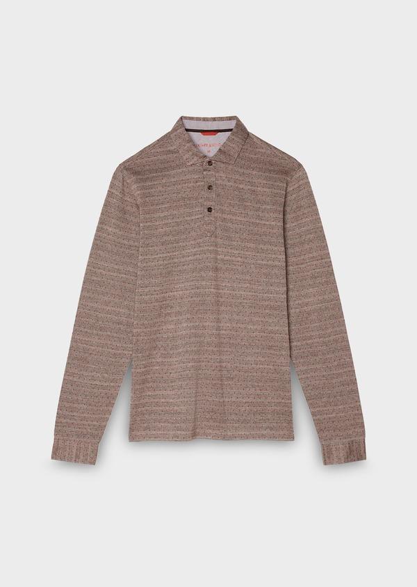 Polo manches longues Slim en coton marron à pois - Father and Sons 28077