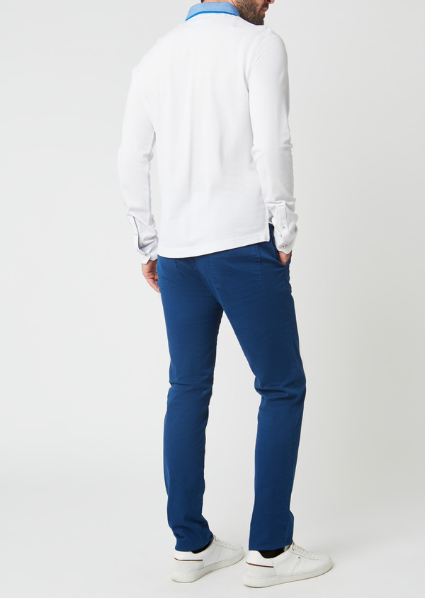 Polo manches longues Slim en coton uni blanc - Father and Sons 28066