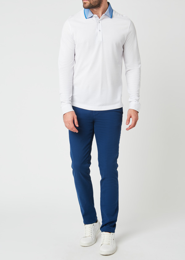 Polo manches longues Slim en coton uni blanc - Father and Sons 28065