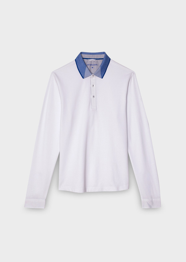 Polo manches longues Slim en coton uni blanc - Father and Sons 28064