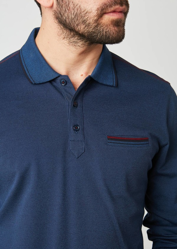 Polo manches longues Slim en coton uni bleu - Father and Sons 28052