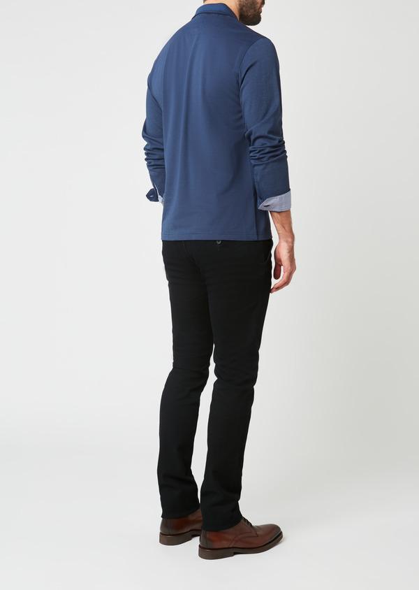 Polo manches longues Slim en coton uni bleu - Father and Sons 28051