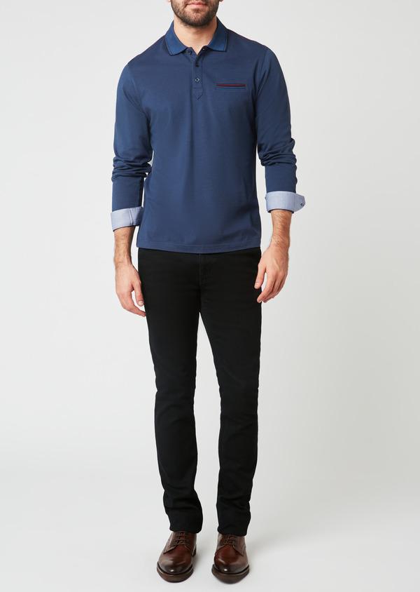 Polo manches longues Slim en coton uni bleu - Father and Sons 28050