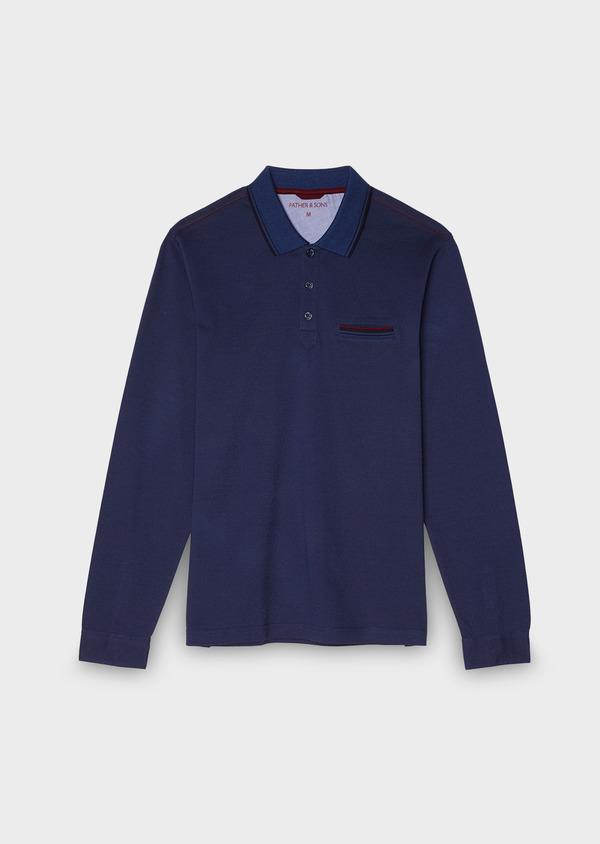 Polo manches longues Slim en coton uni bleu - Father and Sons 28049