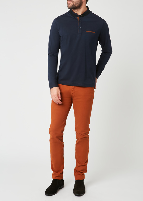 Polo manches longues Slim en coton uni bleu marine - Father and Sons 28036