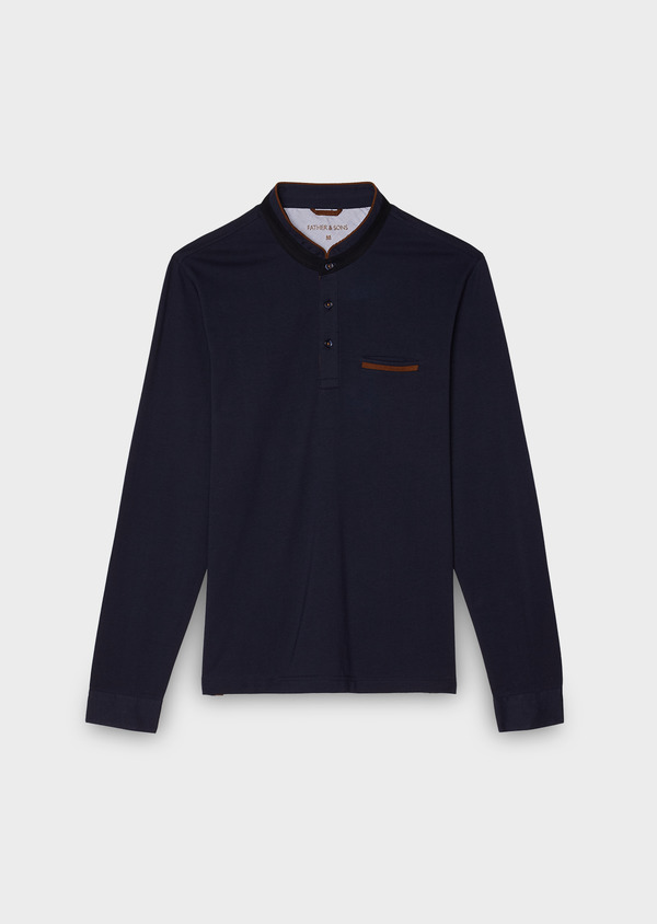 Polo manches longues Slim en coton uni bleu marine - Father and Sons 28035