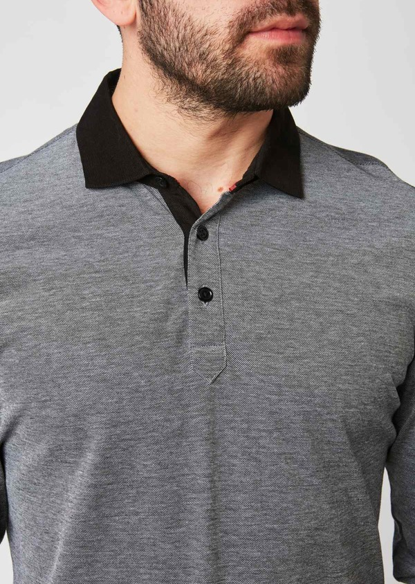 Polo manches longues Slim en coton uni gris - Father and Sons 28597