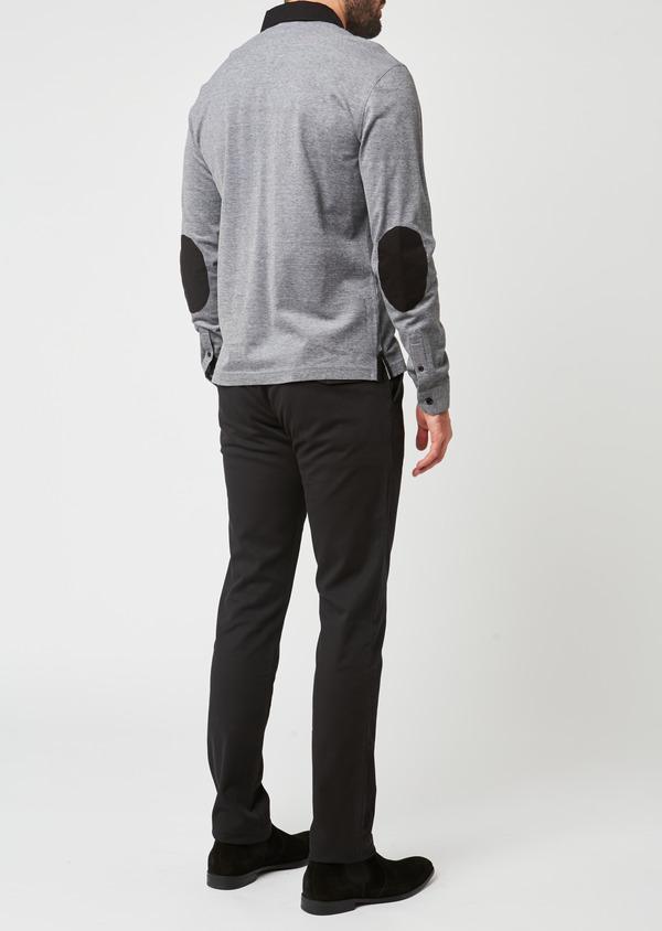 Polo manches longues Slim en coton uni gris - Father and Sons 28596