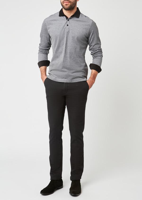 Polo manches longues Slim en coton uni gris - Father and Sons 28595
