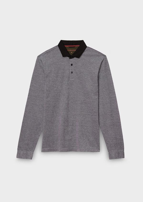 Polo manches longues Slim en coton uni gris - Father and Sons 27013