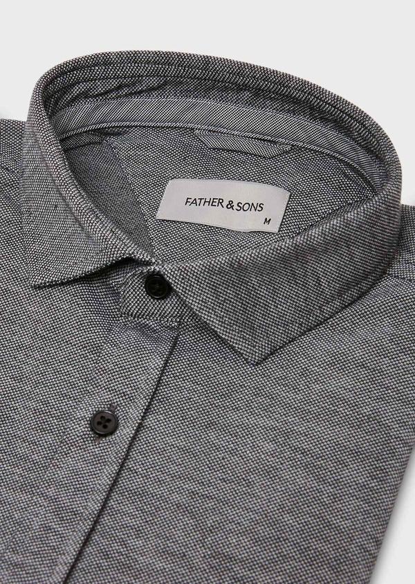 Chemise manches longues Slim en coton jersey uni gris foncé - Father and Sons 27418