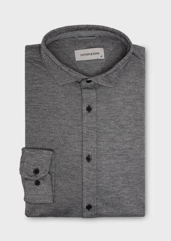 Chemise manches longues Slim en coton jersey uni gris foncé - Father and Sons 27416