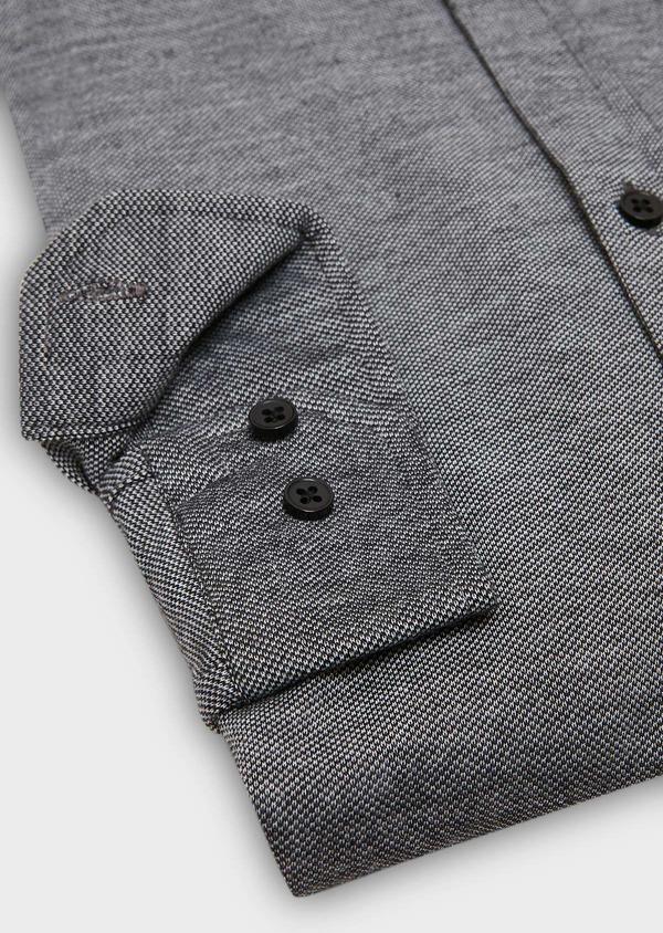 Chemise manches longues Slim en coton jersey uni gris foncé - Father and Sons 27419